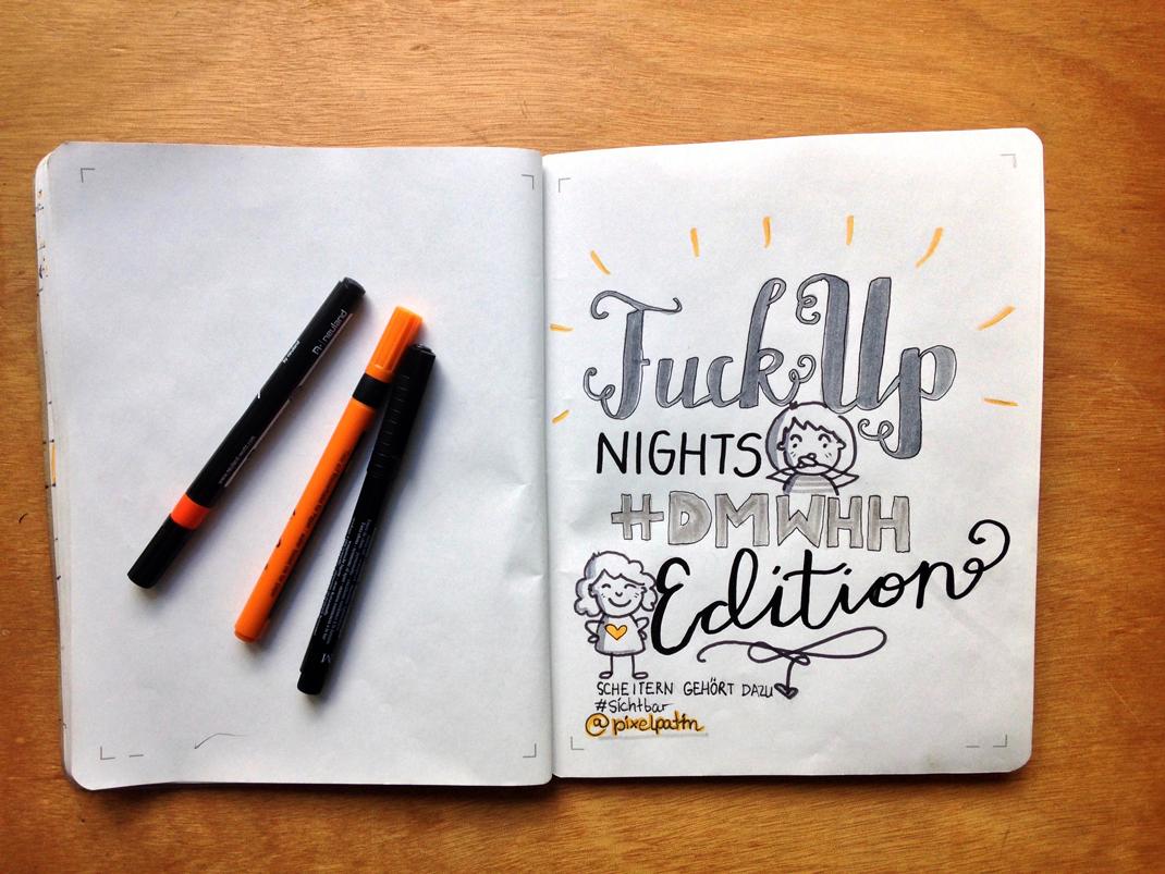 Sketchnotes Pixelsyndikat FuckUp Nights #DMWHH Edition - Titel