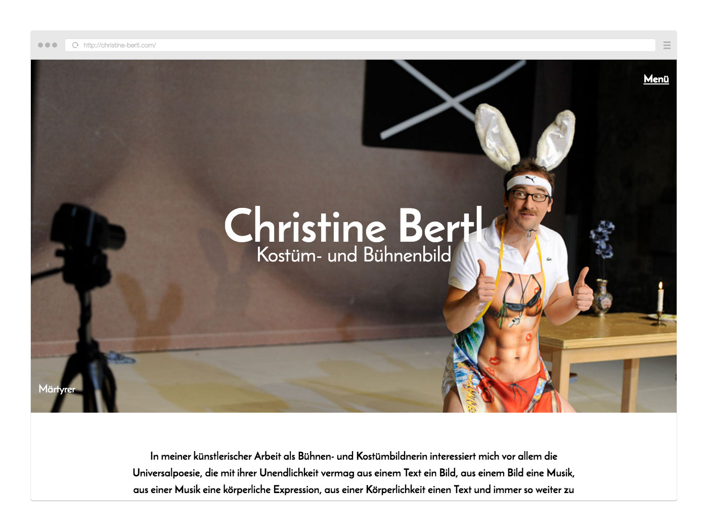 Website christine-bertl.com Ansicht im Browser