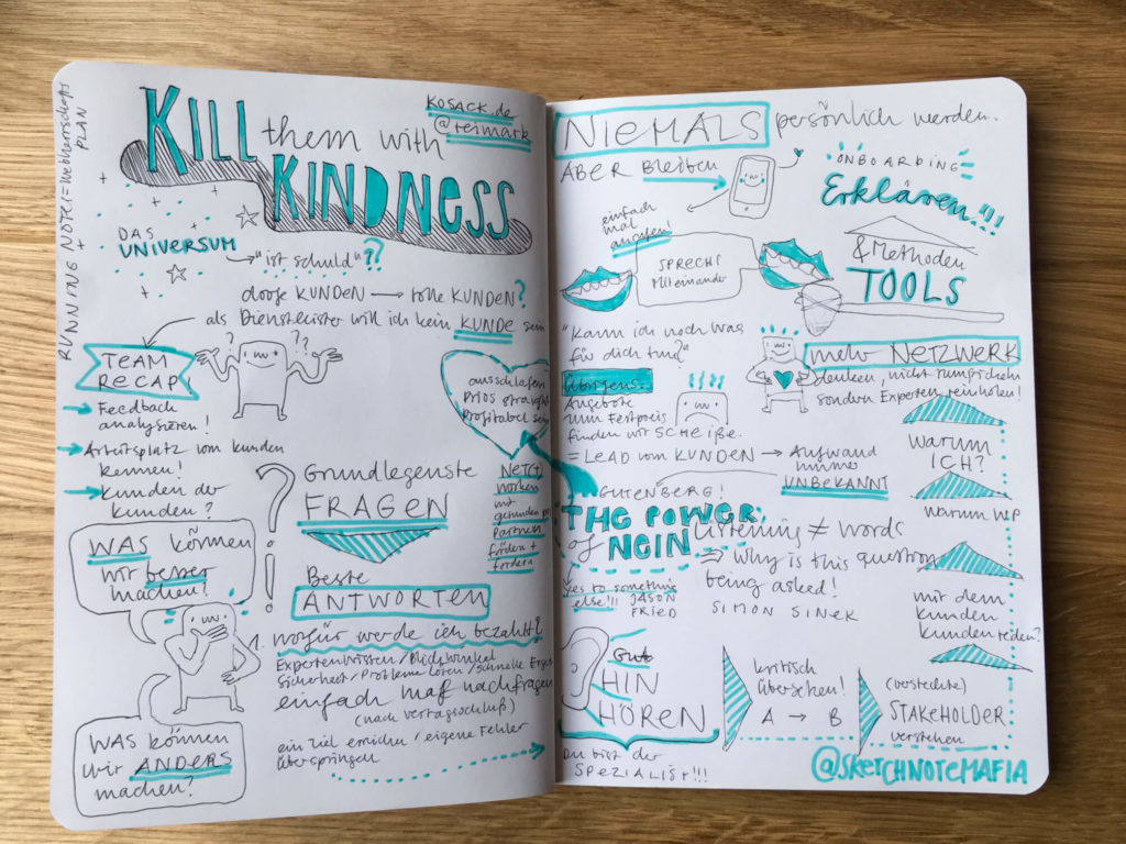 Sketchnote - Kill'em with kindness - Session von Reimer Kosack - #wcos