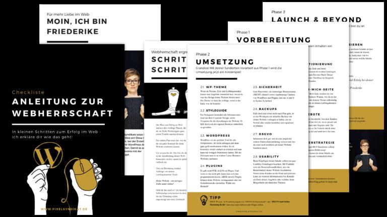 """Checkliste """"Anleitung zur Webherrschaft"""""""