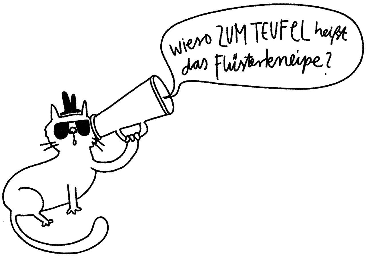 Zeichnung von einer Katze mit einem Megafon und Sprechblase, in der steht: du schaffst das!